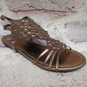 New Size 7.5 Sandals Bronze Womans Shoes 7 1/2